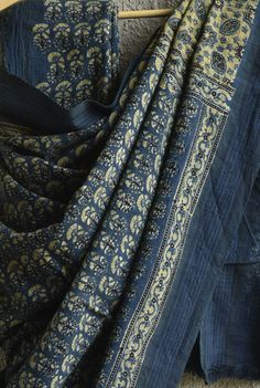 Ajrakh Print German Indigo Saree
