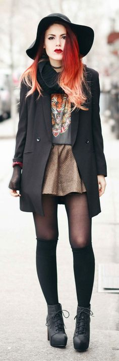 Love the outfit - Love her hair. Coffee Elastic Waist Pleated A-skirt by Le Happy