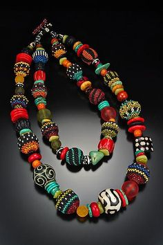 Off-loom woven glass beaded beads, Czech glass, Coral, Turquoise, Carved Jade, Batik Bone, Vintage Glass, Bone, Serpentine, Cinnibar. Created by Julie Powell