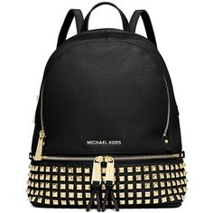 Pre-owned Michael Kors Rhea Small Studded Backpack ($297) ❤ liked on Polyvore featuring bags, backpacks, black, black backpack, michael kors, shoulder strap bag, handle bag and black rucksack