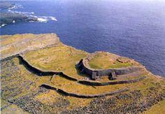 Dun Aengus on Inishmore, Aran Islands, Galway Bay Ireland.    Bike around the Aran Islands and hear traditional Irish language throughout this classic environment.