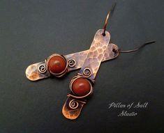 Stick earrings / wire wrapped earrings / hammered copper earrings / wire wrapped jewelry handmade / earthy boho jewelry / red jasper