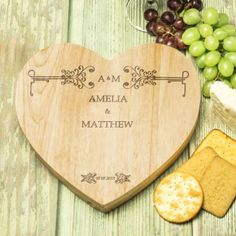 Engraved Wooden Wedding Heart Cheese Board Set - Classic Frame Design