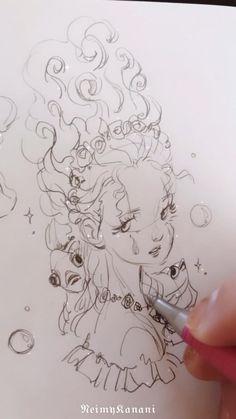 Cute Art Styles, Cartoon Art Styles, Art Drawings Sketches Simple, Cool Drawings, Fairy Drawings, Cute Sketches, Fantasy Drawings, Pretty Drawings, Art Inspiration Drawing