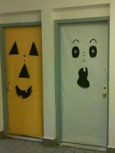 DIY Halloween Decorations | Diy halloween door decorations & I added eyelashes to Lady Franken-door this morning to make it look ...