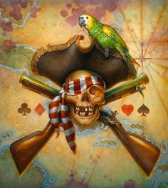 """Pirates:  """"An' da wretched, scurvy parrot shat'n 'is hat""""...art by Don Maitz. #Pirate."""