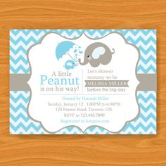 Printable Baby Shower Invitation - A Little Peanut is On the Way - Blue and Grey Elephants. $13.00, via Etsy.