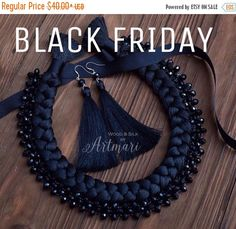 Black Friday Christmas Gifts Black Braided Necklace Crystal Beads Cocktail Necklace Going Out Jewelry Eco-friendly necklace Party Jewelry Bi - Makeup Products Thread Bangles Design, Thread Jewellery, Tassel Jewelry, Fabric Jewelry, Beaded Jewelry, Silk Thread Necklace, Fabric Necklace, Braided Necklace, Diy Necklace