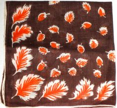 Vintage cotton hankie handkerchief with leaves in orange, brown and white by sweetalicelovesyou on Etsy