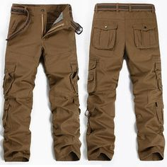Mens Outdoor Solid Color Multi-Pocket Wearable Casual Cargo Pants