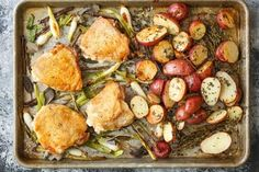 A great sheet pan meal can feel like a minor miracle: throw everything on one pan, put it into the oven, and voila — happy dinnertime. We've given you an essential method for roasting chicken and vegetables together on one pan. But let's take that to the next level — here's one of our favorite flavor combination of chicken, little red potatoes, and herbs.