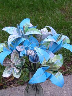Vintage Map Paper Flower Bouquet. Origami Kusudama and Lily Flowers. Custom Orders Welcome. by TreeTownPaper on Etsy