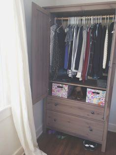 using an IKEA Hemnes wardrobe as a closet.