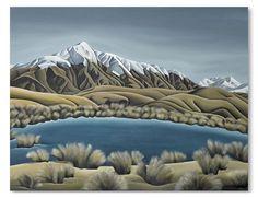 Mountain Tarn by Diana Adams - prints Landscape Paintings, Watercolor Paintings, Landscapes, Watercolour, New Zealand Landscape, New Zealand Art, Nz Art, Secluded Beach, Kiwiana