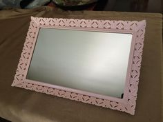 Vanity Mirror, Pink Enameled Mirror, Filigree Mirror, Tabletop Mirror, Shabby Style Decor, Upcycled Mirror, Pink Mirrored Tray, Vanity Tray