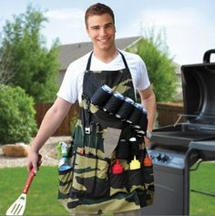 THE GRILL SERGEANT BBQ APRON Barbeque Party Gift Prank Beer Holder Humor Joke