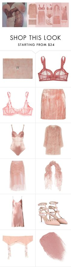 """""""BLUSH"""" by clavisfashion ❤ liked on Polyvore featuring Alexander McQueen, Monette, L'Agent By Agent Provocateur, Topshop Unique, Fleur du Mal, Burberry, Valentino, Lipstick Queen, Pink and rose"""