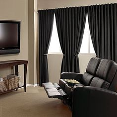 Absolute Zero 63-Inch Velvet Blackout Home Theater Curtain Panel in Black