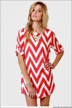 Pink & White Chevron Shirt Dress