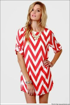 Pink & White Chevron Shirt Dress