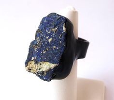 Mind Opening- AZURITE Blue Raw Rough Chunky Mineral Stone Ring / stone age shop