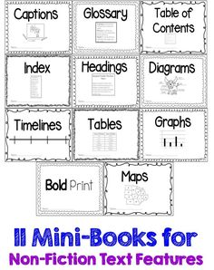 A companion to the comprehension mini-books-----these 11 mini-books are for Non-fiction Text Features!