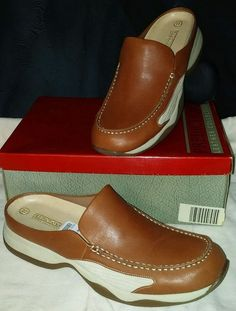 Predictions Womens Leather Collection Tan Sport Mule Shoes Slip-on NOS Sz 11 #Predictions #Mules #Casual