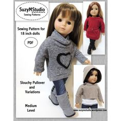Trendy style and great for Fall and Winter! This pattern includes: High Low Slouchy Pullover sweater with heart applique, Mini Dress and belt and Cropped Pullover with lined detachable hood. Made to fit 18 inch doll and suitabale for cotton knit fabrics.