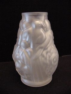 art deco frosted glass vase France