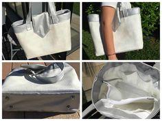 Le sac Grand Madison cousu par Dado en simili argent et simili blanc texturé - Patron de couture Sacôtin