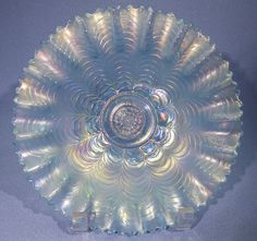 Northwood Nippon Ice Blue Carnival Glass Bowl Pie Crust Edge