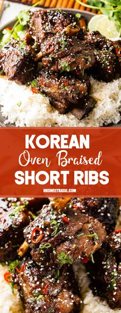 We cannot wait to share this Korean Oven Braised Short Ribs recipe with you! It's a saucy, tender, flavorful twist on our Oven Braised Short Ribs! #asian #beef #ribs #shortribs #korean #maindish #recipe #asianinspired #braised