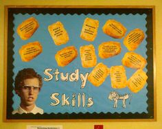 """Bulletin board on study skills for the residence hall.  """"Girls only want guys who have great skills"""""""