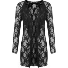 Laurine Floral Lace Open Cardigan (£23) ❤ liked on Polyvore featuring tops, cardigans, black, long sleeve cardigan, plus size tops, plus size open front cardigan, open front cardigan and long sleeve lace top
