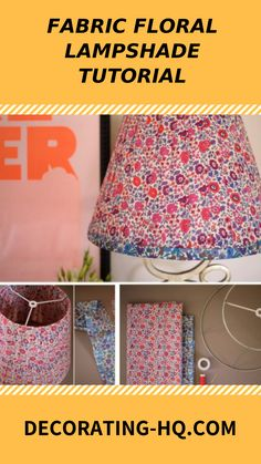 This is a simple and inexpensive way to make or remodel a lampshade to give your home decoration an unique look. This DIY fabric floral lampshade is a Lampshade Ideas, Floral Lampshade, Tech Gadgets, Repurposing, Lanterns, Recycling, Diy Crafts, Decoration, Simple