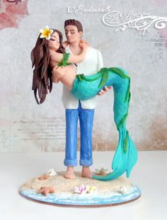 Beach Wedding Photos Siren - Mermaid Sand Beach Wedding Cake Topper Figurine by L'Enchanterelle Beach Wedding Cake Toppers, Wedding Cake Decorations, Wedding Topper, Cool Wedding Cakes, Wedding Themes, Wedding Ideas, Beach Wedding Cakes, Beach Cake Topper, Wedding Photos