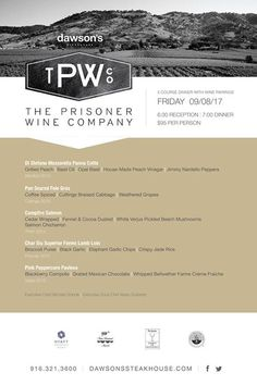 Wines from Prisoner paired with a regionally inspired five course dinner on 9/8/17. Seating is limited. $95 per person. Call to reserve #webdesign #webdevelopment #webdesign #webdevelopment | #seo#webstrategy #SMM #Startup | #digitalmarketing#wordpress #socialmediamarketing | #wp #themes #WebDev #SEO