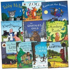 Julia Donaldson and Axel Scheffler Pack, 10 books, RRP £69.90 (A Squash and a Squeeze; Charlie Cook's Favourite Book; Monkey Puzzle; Room on the Broom; Stick Man; Tabby McTat; The Gruffalo; The Gruffalo's Child; The Smartest Giant in Town; Zog). by Julia Donaldson http://www.amazon.co.uk/dp/B005KS6ED4/ref=cm_sw_r_pi_dp_Q3Wzvb0KAXTJE