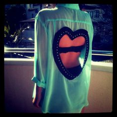 Studded Heart Cut Out Top!!! SUPER CUTE!
