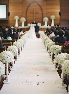 lovley calligraph wedding aisle runner decor with baby's breath