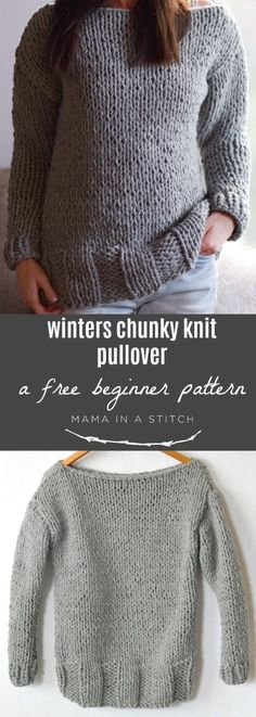 Super easy, free knit pullover pattern for cold winter days from @mamainastitch via @MamaInAStitch