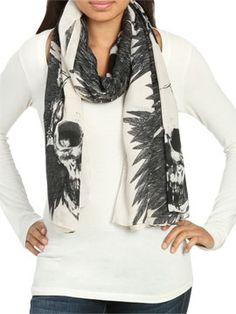 Feathered Skull Printed Scarf Accessories