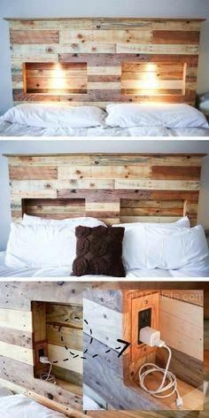 How to make your own DIY pallet headboardHow do I create a pallet headboard?DIY Tutorial: DIY Headboard / DIY Pallet Headboard - Bead & Cord I think . Unique Home Decor, Home Decor Items, Diy Bett, Wood Pallets, Pallet Wood, Pallet Ideas, Headboards For Beds, Headboard Ideas, Headboard Pallet