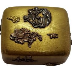 Antique Bronze Mixed Metal Bronze And Copper Japanese Hinged Box From The Meiji Period With Etched Wood Grain  The Lazy Dog Antique Store on Ruby Lane