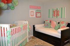 Design Your Own - Mint and Coral Nursery Bedding www.thelittlechick.etsy.com