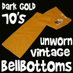 70s Mens Original Fashion: Gold Bell Bottom Pants