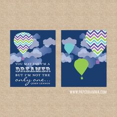 Vibrant Imagine, Dreamer Lyrics Nursery Print/ Giclee Art Prints Nursery/ Child's Room - Custom Match colors to your room // N-G20-2PS