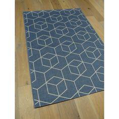 Tapis à motifs cubes géométriques - naturel tissé à plat effet sisal. Collection ESSENZA. Idéal à l'extérieur comme à l'intérieur. Bleu. 120x170cm.