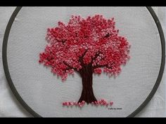 Easy and simple method to create a cherry blossom tree. I used all 6 strands of cotton embroidery floss. Hand Embroidery Videos, Hand Embroidery Tutorial, Embroidery Flowers Pattern, Flower Embroidery Designs, Hand Embroidery Stitches, Embroidery Hoop Art, Embroidered Flowers, Handkerchief Embroidery, French Knot Embroidery