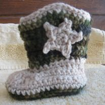 What a wonderfully unique gift for the little cowboy or cowgirl in your life.   The cowboy boots are hand crocheted and are available in many sizes.  The pictured boots are sized 0 to 3 months and are beige and camouflage.  Please send me a message letting me know what size and color combinations you would like to have made.